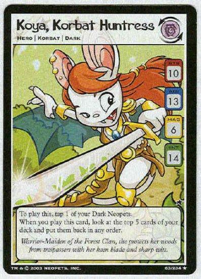 Neopets CCG Base Set #63 Koya Korbat Huntress Rare Card