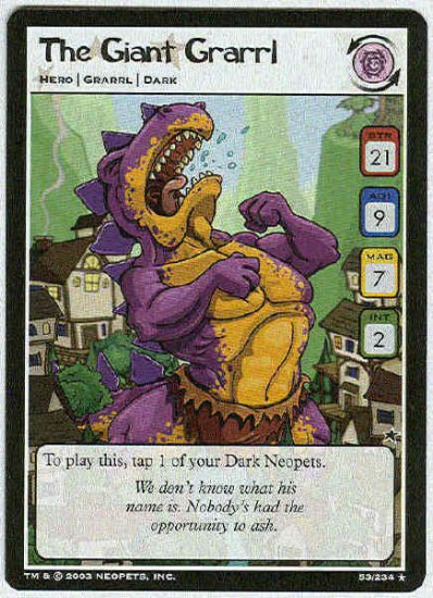 Neopets CCG Base Set #53 The Giant Grarrl Rare Game Card