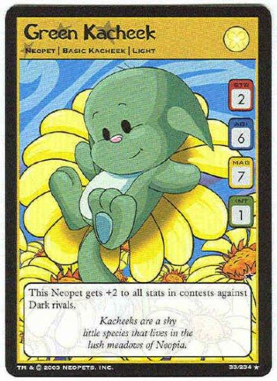 Neopets CCG Base Set #33 Green Kacheek Rare Game Card