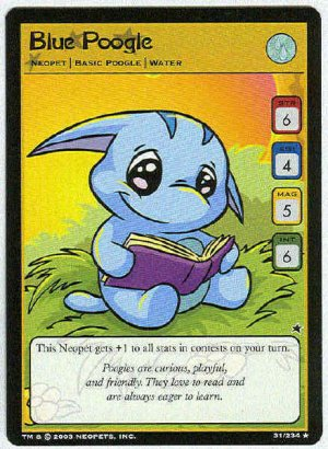 Neopets CCG Base Set #31 Blue Poogle Rare Game Card