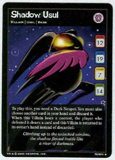 Neopets CCG Base Set #79 Shadow Usul Rare Game Card