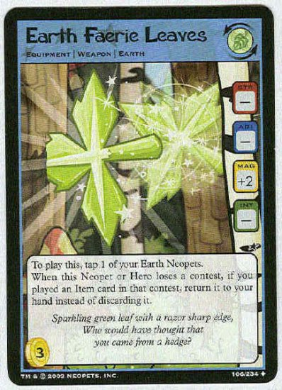 Neopets #106 Earth Faerie Leaves Uncommon Card Unplayed