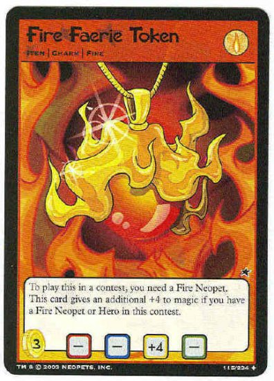 Neopets CCG Base Set #115 Fire Faerie Token Uncommon