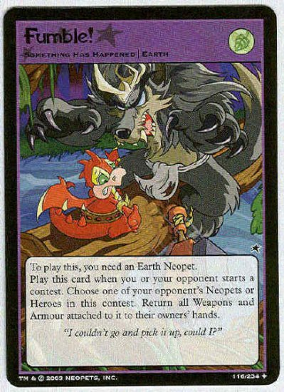 Neopets CCG Base Set #116 Fumble Uncommon Game Card