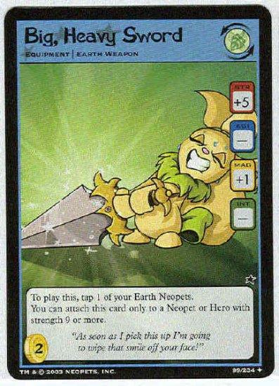 Neopets #99 Big Heavy Sword Uncommon Card Unplayed