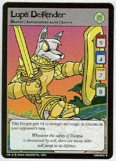 Neopets CCG Base Set #125 Lupe Defender Uncommon Card