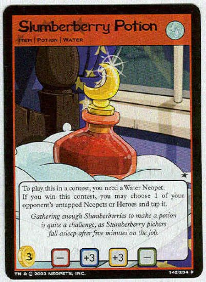 Neopets #142 Slumberberry Potion Uncommon Card Unplayed