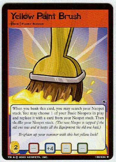 Neopets CCG Base Set #156 Yellow Paint Brush Uncommon