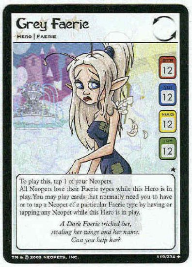 Neopets CCG Base Set #119 Grey Faerie Uncommon Card