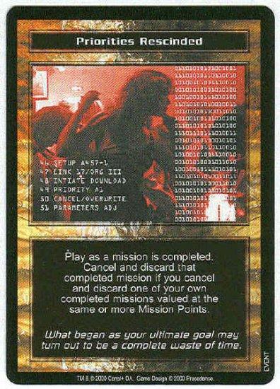 Terminator CCG Priorities Rescinded Uncommon Game Card