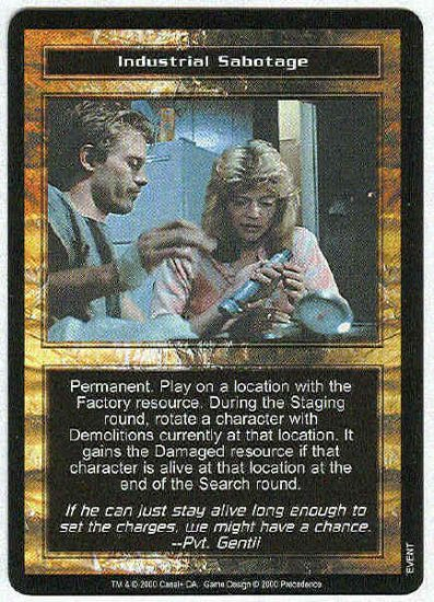Terminator CCG Industrial Sabotage Uncommon Game Card