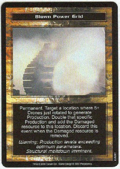 Terminator CCG Blown Power Grid Uncommon Game Card