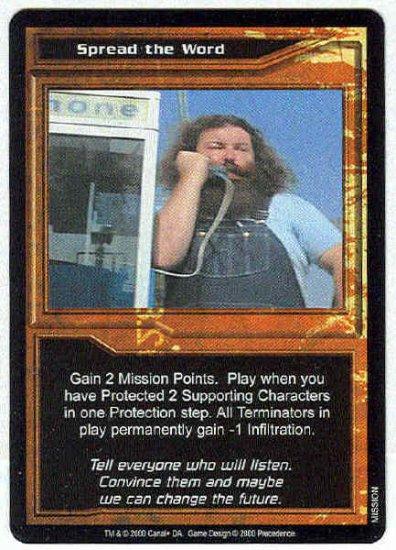 Terminator CCG Spread The Word Uncommon Game Card