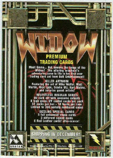 Widow 1997 Promo Unnumbered Trading Card