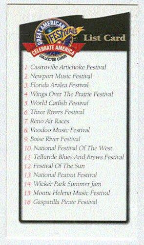 Doral 2003 Card Celebrate Great American Festivals List Card