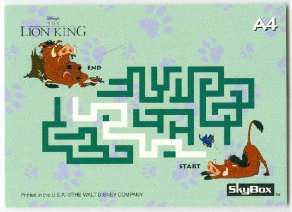 Lion King Series 2 #A4 Activity Trading Card Pumbaa
