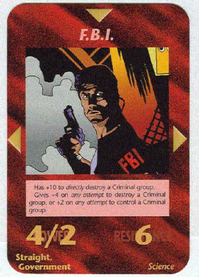 Illuminati F.B.I. New World Order Game Trading Card