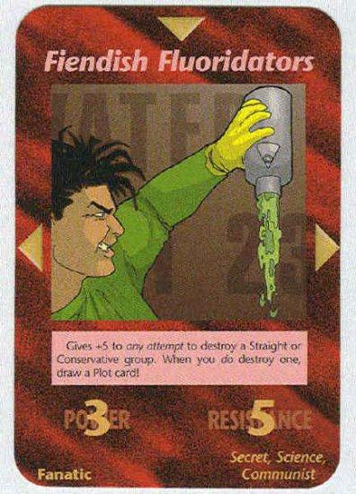 Illuminati Fiendish Fluoridators New World Order Game Card