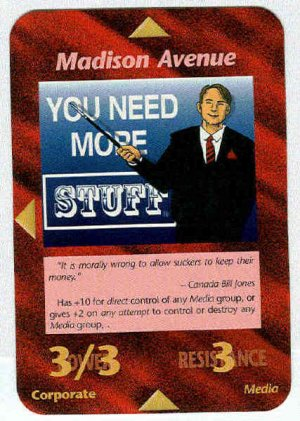 Illuminati Madison Avenue New World Order Game Card