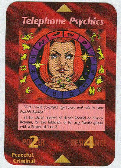 Illuminati Telephone Psychics New World Order Game Card