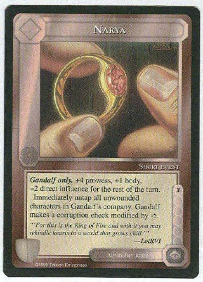 Middle Earth Narya Wizards Limited Rare Game Card