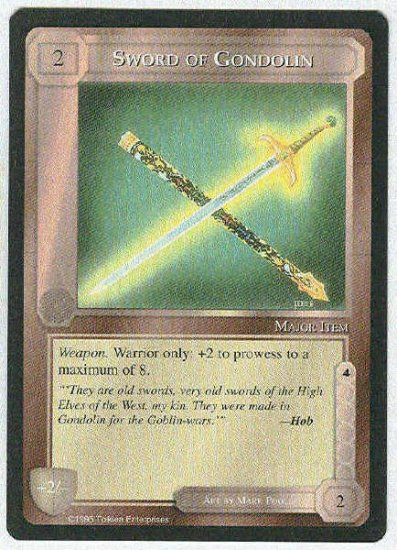 Middle Earth Sword Of Gondolin Wizards Limited Game Card