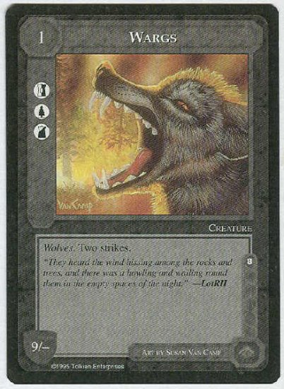 Middle Earth Wargs Wizards Limited Black Border Game Card
