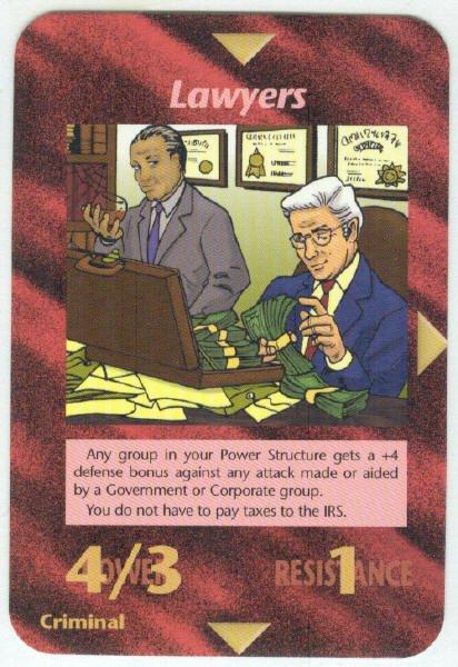 Illuminati Lawyers New World Order Game Trading Card