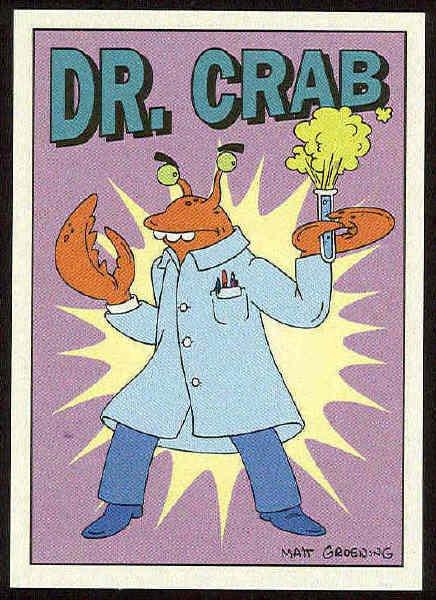 Simpsons 1993 Radioactive Man #R2 Dr. Crab Chase Card