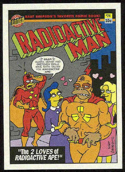 Simpsons 1993 Radioactive Man #R6 Loves Of Ape Card