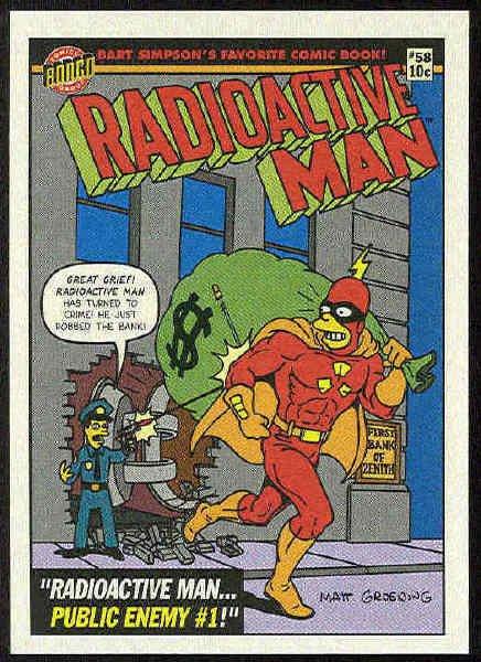 Simpsons 1993 Radioactive Man #R9 Public Enemy Card