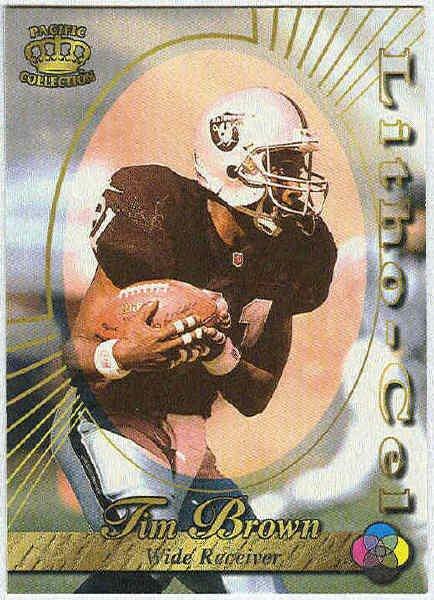 1996 Pacific Tim Brown #73 Litho Football Card