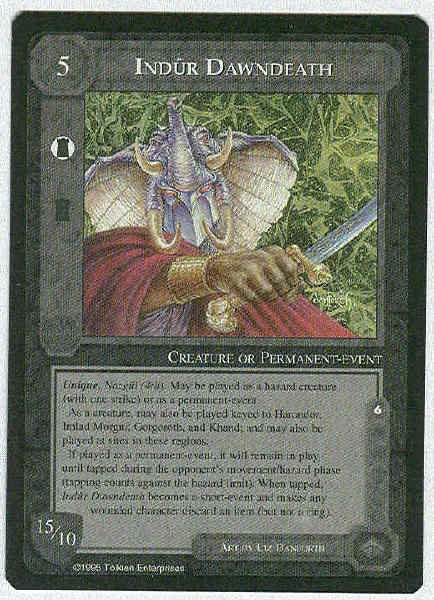 Middle Earth Indur Dawndeath Wizards Rare Game Card