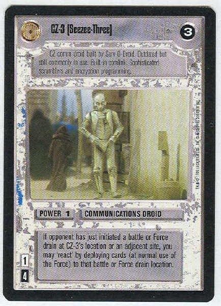Star Wars CCG CZ-3 (Seezee-Three) LS Limited Game Card Unplayed