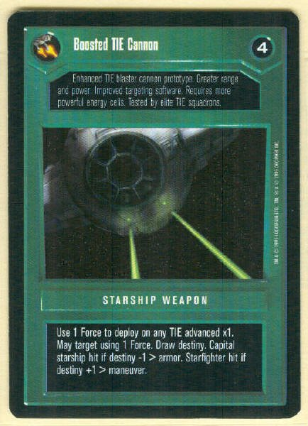 Star Wars CCG Boosted TIE Cannon Uncommon DS Game Card Unplayed