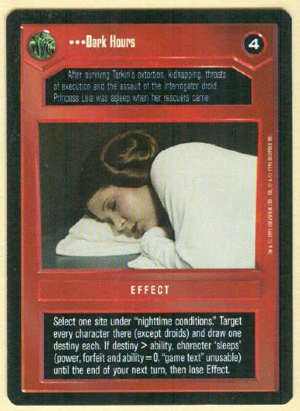 Star Wars CCG Dark Hours Uncommon DS Game Card Unplayed