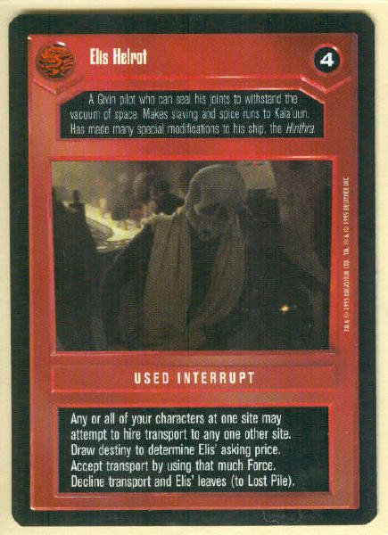 Star Wars CCG Elis Helrot Uncommon DS Game Card Unplayed