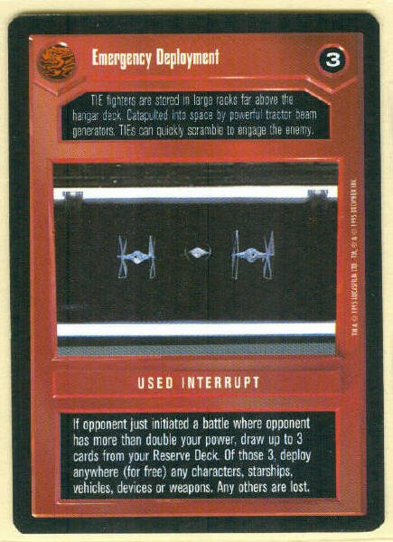 Star Wars CCG Emergency Deployment Uncommon DS Game Card Unplayed