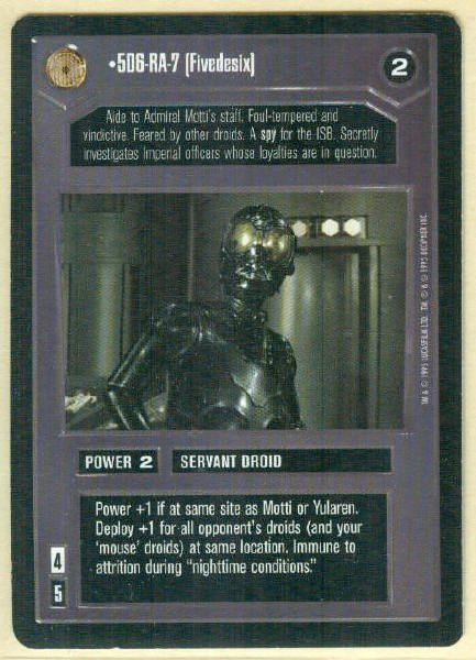Star Wars CCG 5D6-RA-7 (Fivedesix) Limited Rare Game Card