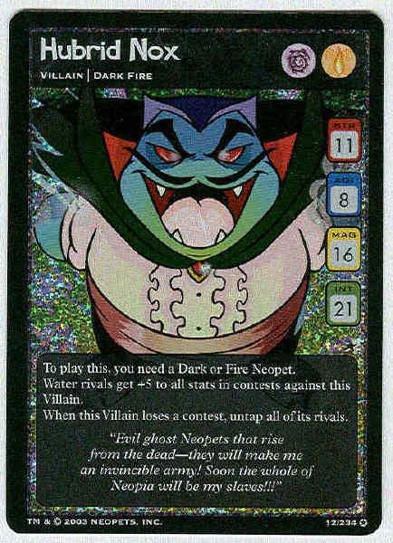 Neopets CCG Base Set #12 Hubrid Nox Holo Foil Game Card