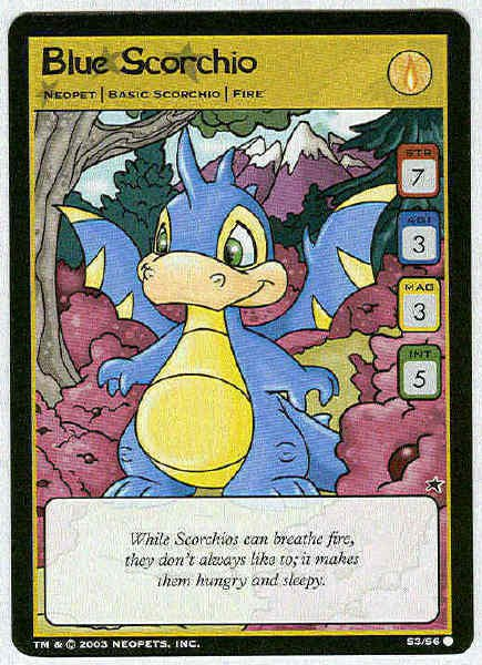 Neopets #S3/S6 Blue Scorchio Game Card Unplayed