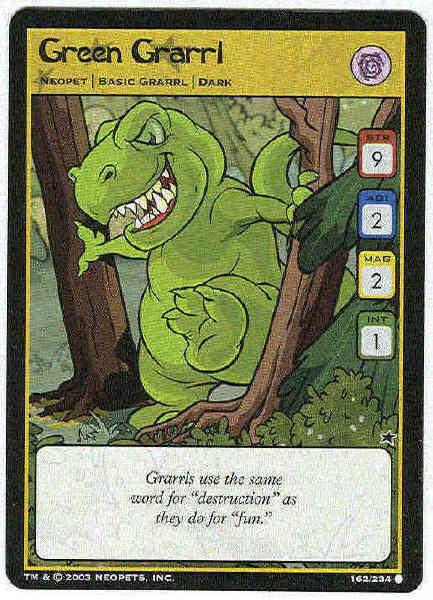 Neopets CCG Base Set #162 Green Grarrl Game Card