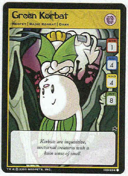 Neopets CCG Base Set #163 Green Korbat Game Card