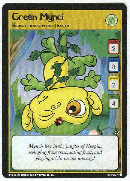 Neopets CCG Base Set #164 Green Mynci Game Card