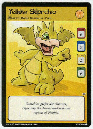 Neopets CCG Base Set #174 Yellow Scorchio Game Card