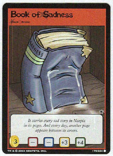 Neopets CCG Base Set #179 Book Of Sadness Game Card