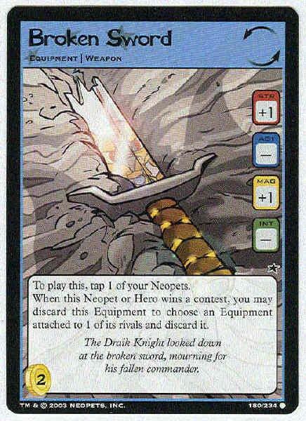 Neopets CCG Base Set #180 Broken Sword Game Card