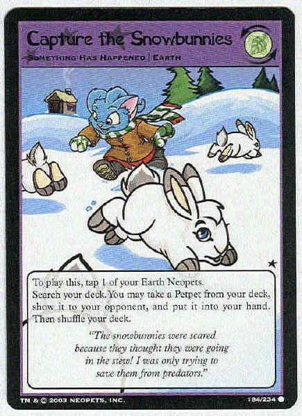 Neopets CCG Base Set #184 Capture The Snowbunnies Card