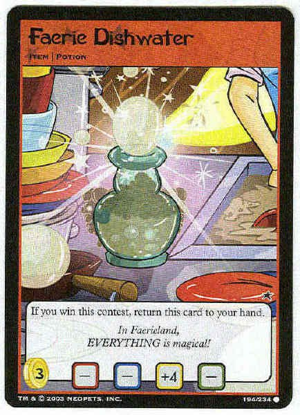 Neopets #194 Faerie Dishwater Game Card Unplayed