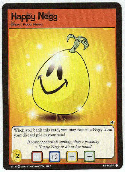 Neopets #198 Happy Negg Game Card Unplayed